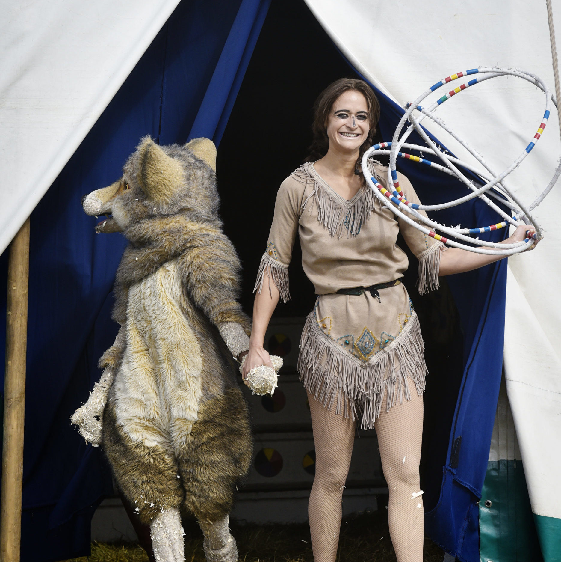 Nancy and the wolf from 2016 The Painted Wagon taken by Andrew Rees